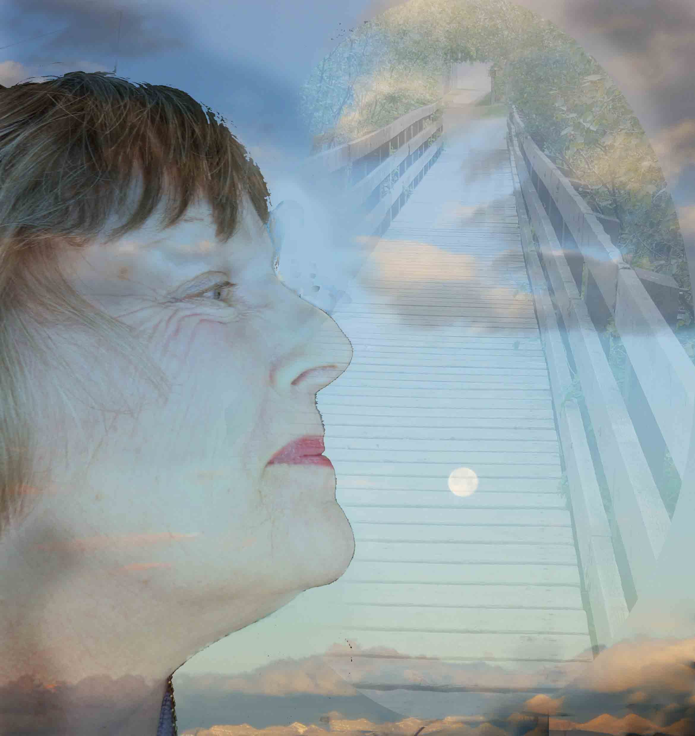 Photoshop layers make a face looking thoughtful with a layer of a bridge, the moon, and sky in the background.