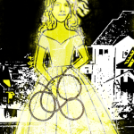 Drawing of a lady placed over a black and white cityscape