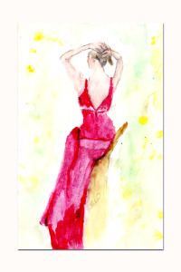 Muse in red, watercolour figure seated