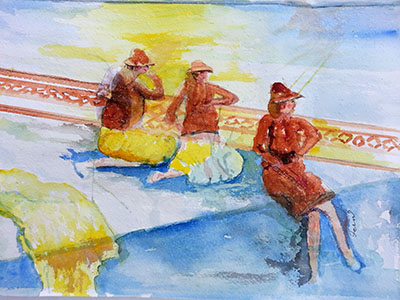 Ladies on Watch - watercolour