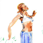 Lady looking up - watercolour