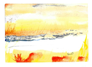 Study of river bank in watercolour