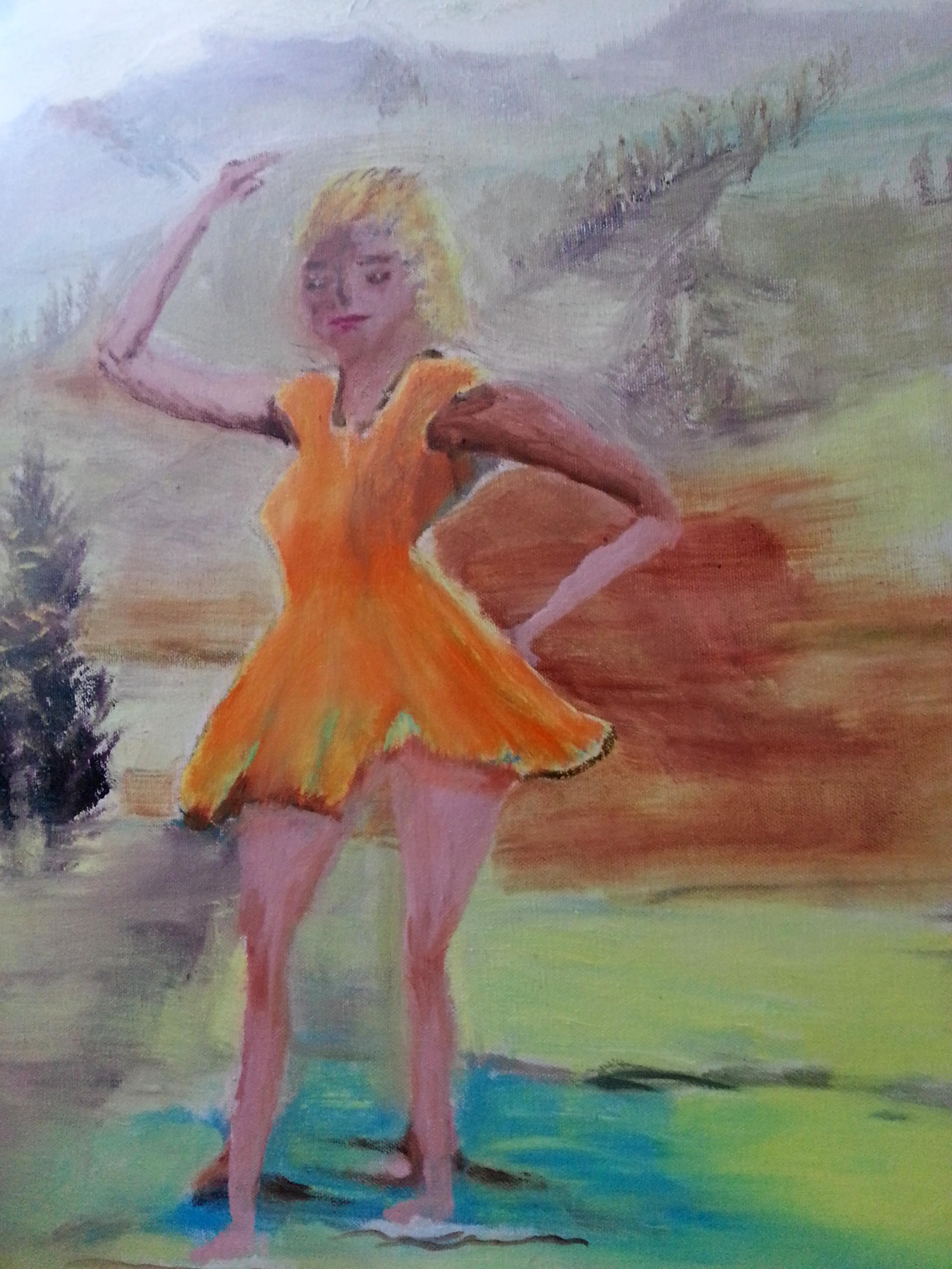 Lady in Yellow - oils unframed