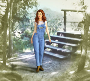 A girl is standing beside some stairs.