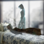 Honerable Mention image, August 2019 Shift Art Challenge, image of lady on a bed who appears to be suffering from a long term illness.